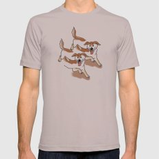 UNSTABLE HAPPY DOGS Mens Fitted Tee Cinder SMALL