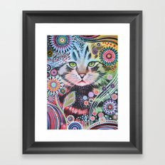 Abstract Cat Art - Penny Framed Art Print