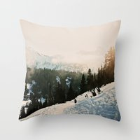 Winter Mountain Hike Throw Pillow
