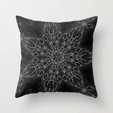 Black Snowflake Black Throw Pillow