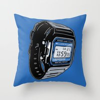 Casio F-105 Digital Watch Throw Pillow