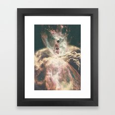The Girl Who Swims In Clouds Framed Art Print