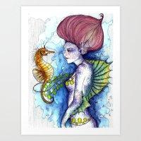 the seahorse's friend Art Print