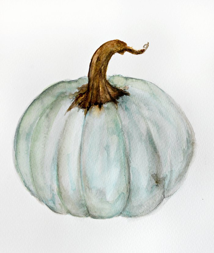 Blue Gray Cinderella Pumpkin Watercolor Art Print By