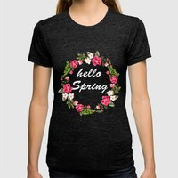 HELLO SPRING Womens Fitted Tee Tri-Black SMALL