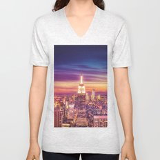 New York City Dusk Sunset Unisex V-Neck