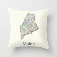 Maine map Throw Pillow