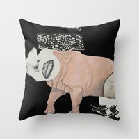 collage woman Throw Pillow