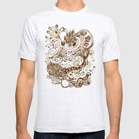 Zentangle green flower roots doodle Mens Fitted Tee Ash Grey SMALL