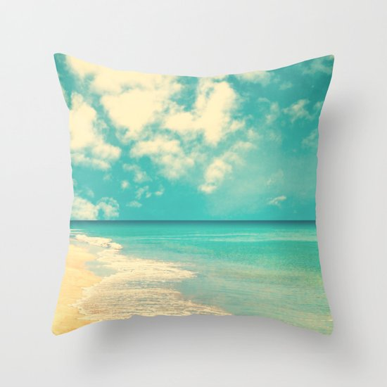Waves of the sea (retro beach and blue sky) Throw Pillow