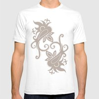 Paisley: Dark Brown Comb… Mens Fitted Tee White SMALL