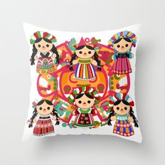 Mexican Dolls Throw Pillow