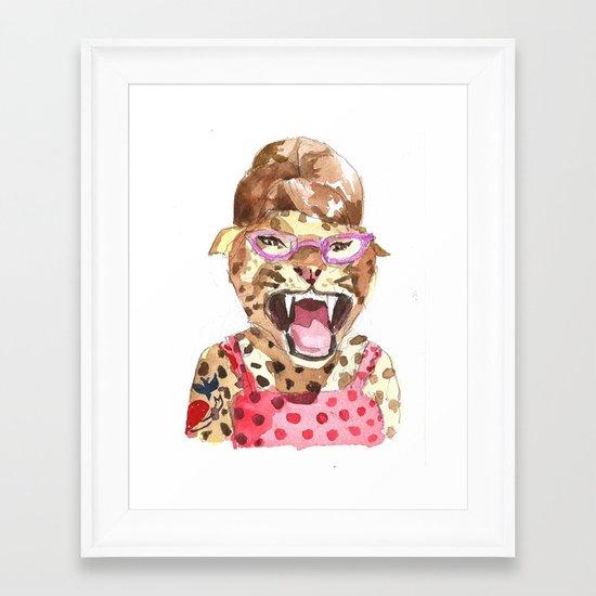 Rockabilly Leopard Framed Art Print