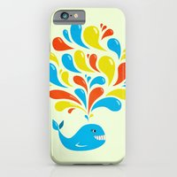 iPhone & iPod Case featuring Colorful Swirls Happy Cartoon Whale by Boriana Giormova