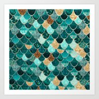 teal Art Prints featuring REALLY MERMAID by Monika Strigel