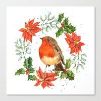 Christmas Robin print, robin painting, seasonal decor, robin illustration, retro Christmas Canvas Print