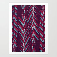 Pink and Blue Painterly Chevrons Art Print