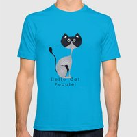 Hello Cat People Mens Fitted Tee Teal SMALL