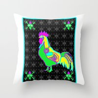 Dubstep Rooster Throw Pillow
