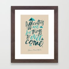 Shackleton Quote on Difficulties - Illustration Framed Art Print