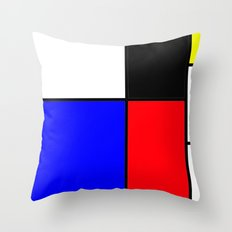 Red Blue Yellow squares design Throw Pillow