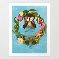 Sea Otter Holiday Card Art Print