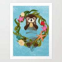 Sea Otter Holiday Card Art Print