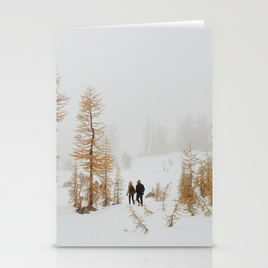 Walking in Larch Land Stationery Card