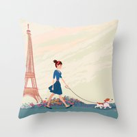 An Afternoon Stroll In P… Throw Pillow