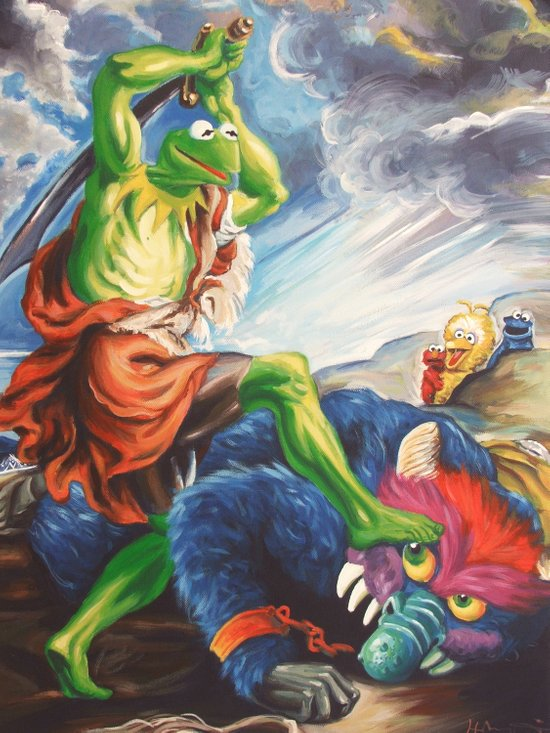 Kermit Slaying His Pet Monster Art Print