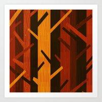 Retro Fall Woods By Friz… Art Print