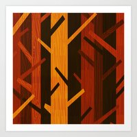 Retro Fall Woods by Friztin Art Print