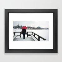 Copenhagen - Red Umbrella Framed Art Print