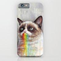 Cat Tastes the Grumpy Rainbow   Watercolor Painting iPhone 6 Slim Case