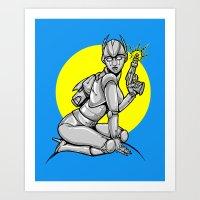 Robot Pinup Art Print