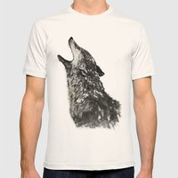 The Wolf Mens Fitted Tee Natural SMALL