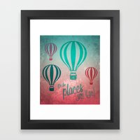 Oh, the Places You'll Go - Coral & Teal Framed Art Print
