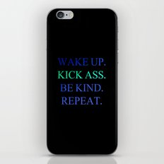 Wake Up.  Kick Ass.  Be Kind.  Repeat Gold and Red Foil Print iPhone & iPod Skin