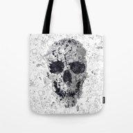 Doodle Skull BW Tote Bag