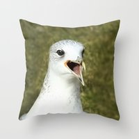 Bird shouting Throw Pillow