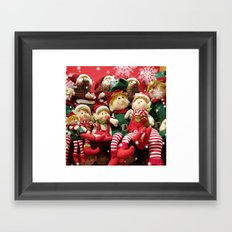 Merry Christmas Elves Framed Art Print