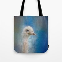 Blue Eyed Beauty - White Ostrich - Wildlife Tote Bag