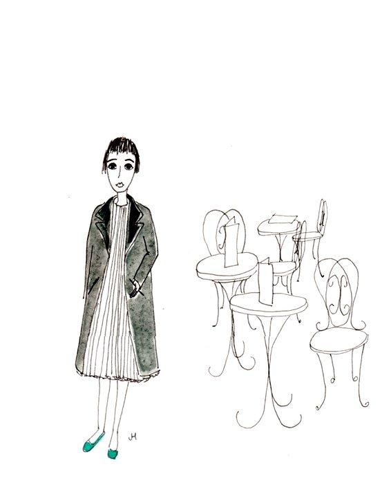 cafe girl Art Print