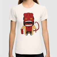 Screaming Helldude Womens Fitted Tee Natural SMALL
