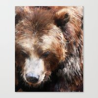 Bear // Gold Canvas Print