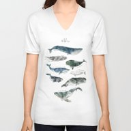 Unisex V-Neck featuring Whales by Amy Hamilton