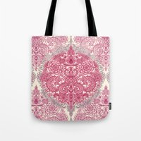 Happy Place Doodle in Berry Pink, Cream & Mauve Tote Bag