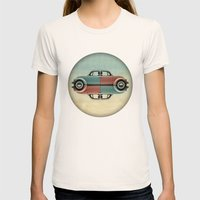 Checkered Bug - VW Beetl… Womens Fitted Tee Natural SMALL