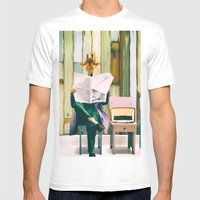 Giraffe reads the paper... Mens Fitted Tee White SMALL