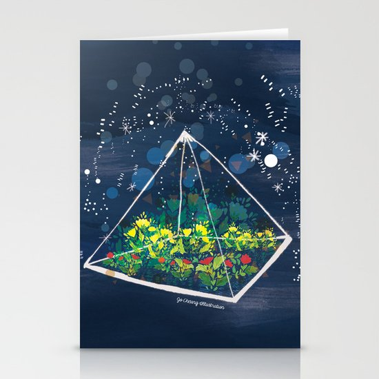 The Greenhouse at Night Stationery Card